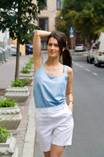 Load image into Gallery viewer, Light blue cotton tank top for women