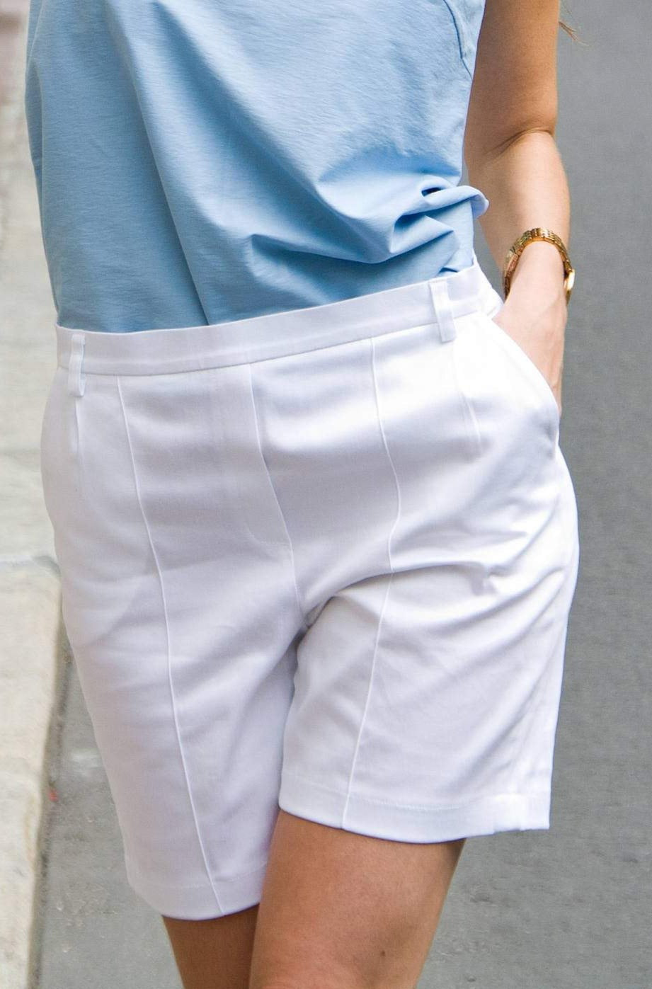 White cotton high waisted shorts