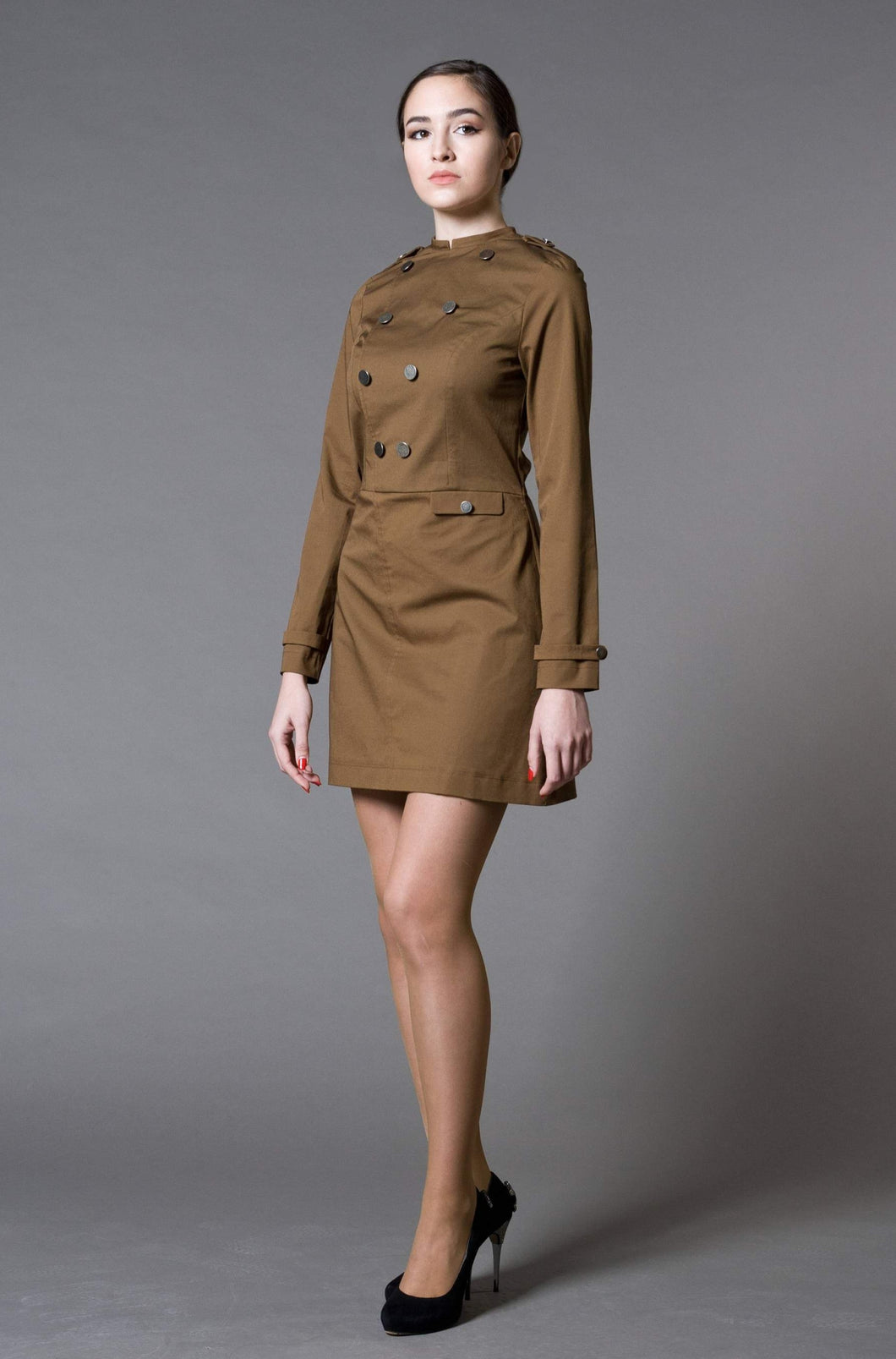 Military high neck cotton mini dress
