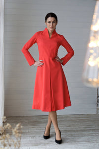 Red high neck fit and flare midi dress women