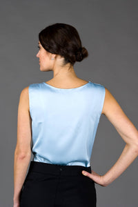 Blue satin cowl neck top for women