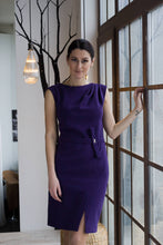 Load image into Gallery viewer, Purple draped pencil dress women