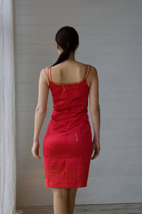Red satin spaghetti strap dress