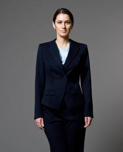 Navy blue notched collar double breasted jacket