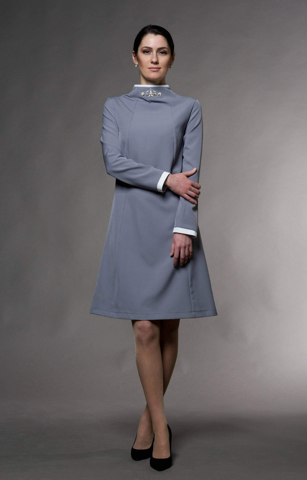 Embroidered mandarin collar dress