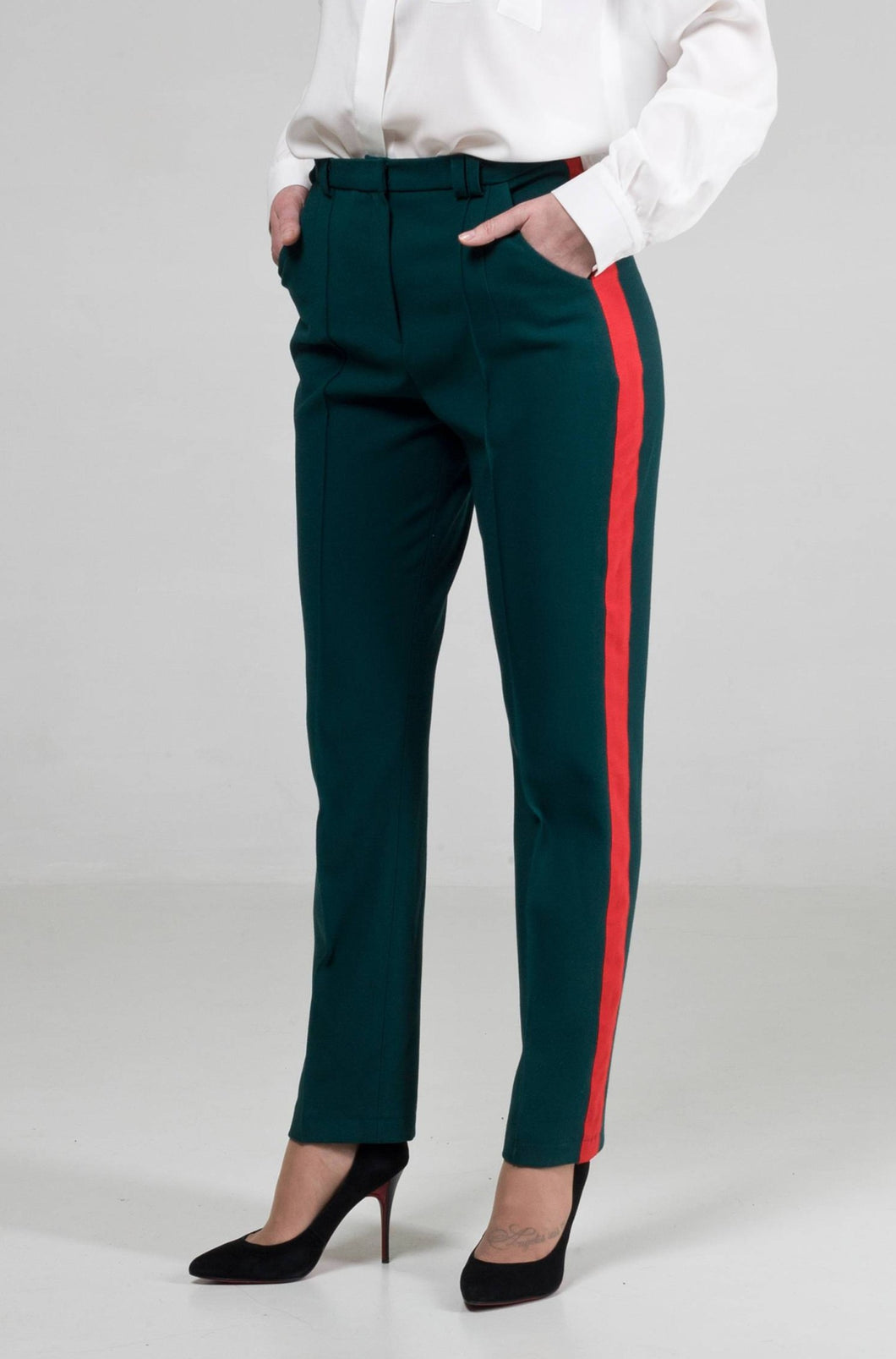 High waisted red stripe pants women