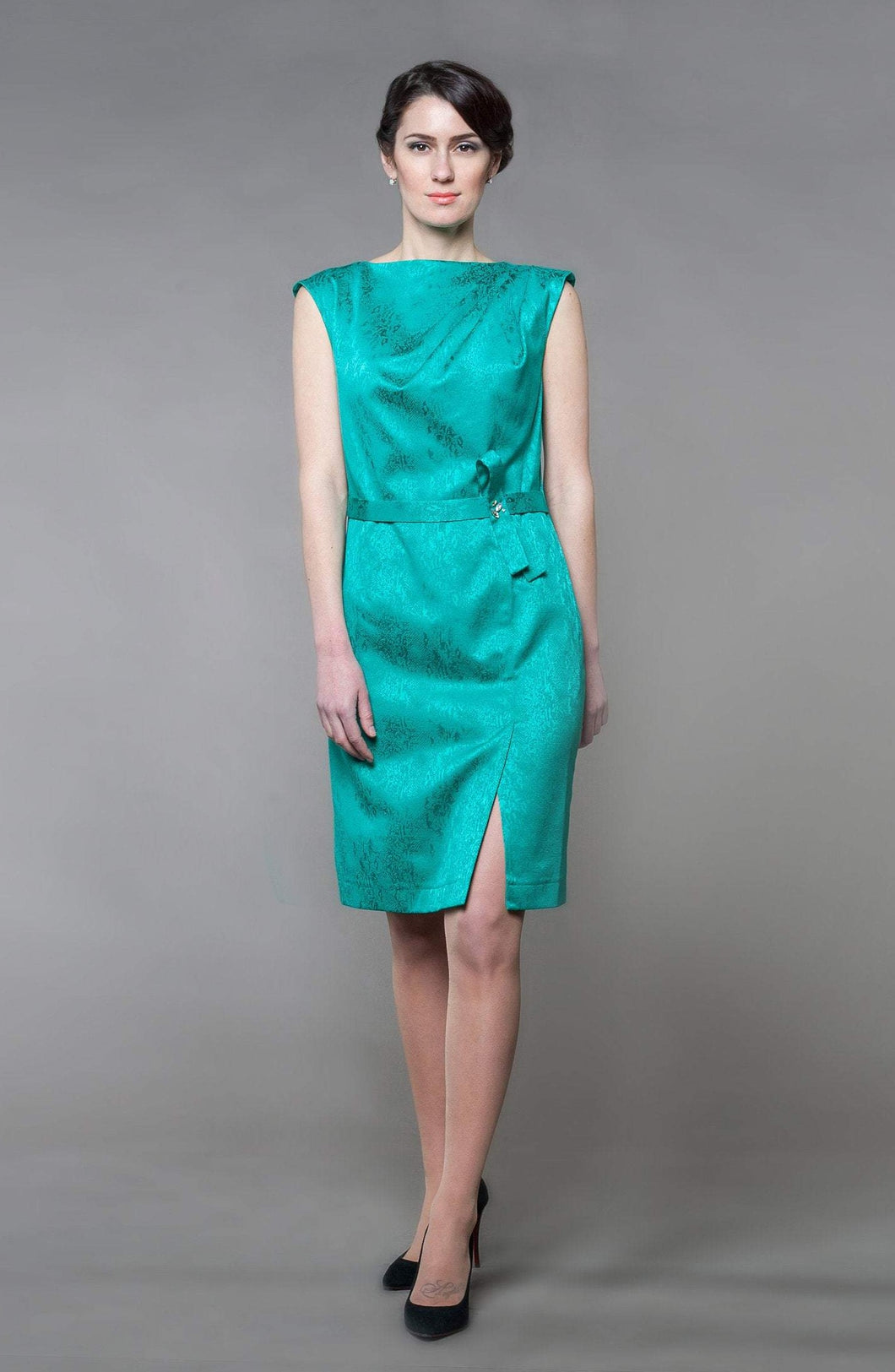 Emerald green cotton pencil dress