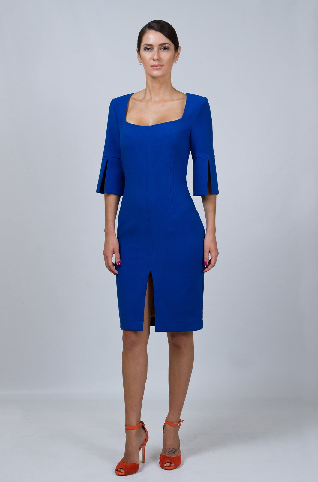 Royal blue square neck sheath dress