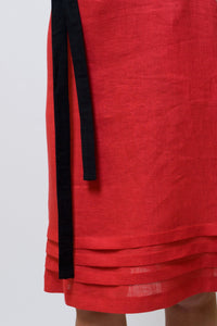 Red linen summer women dress