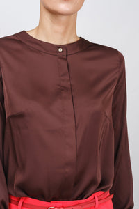 Chocolate brown long sleeve satin button down blouse