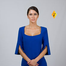Load image into Gallery viewer, Royal blue square neck sheath dress