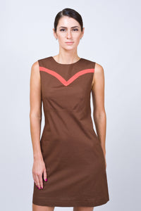Brown cotton mini dress with contrast red stripes