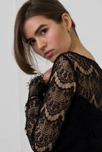 Load image into Gallery viewer, Black lace midi dress with scalloped edge
