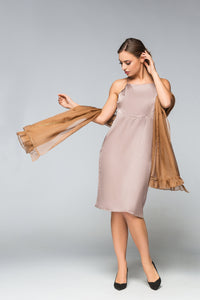 Slip dress women with sheer chiffon stole