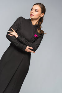 Black high neck blazer midi dress
