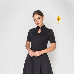 Black fit and flare cheongsam dress