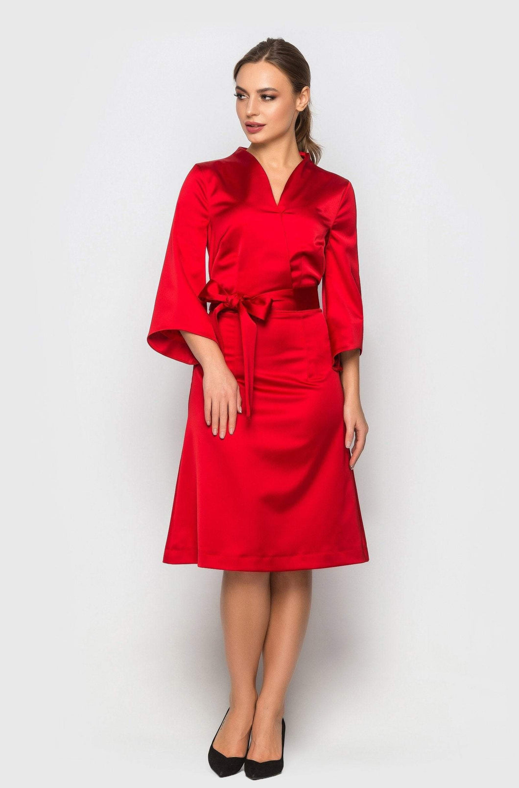 Red satin high neck kimono dress women