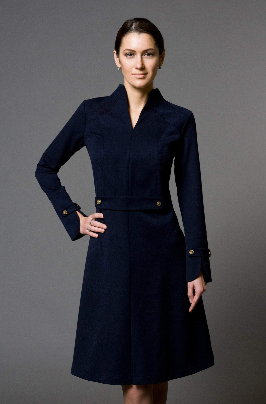 Long sleeve high neck structured midi dress