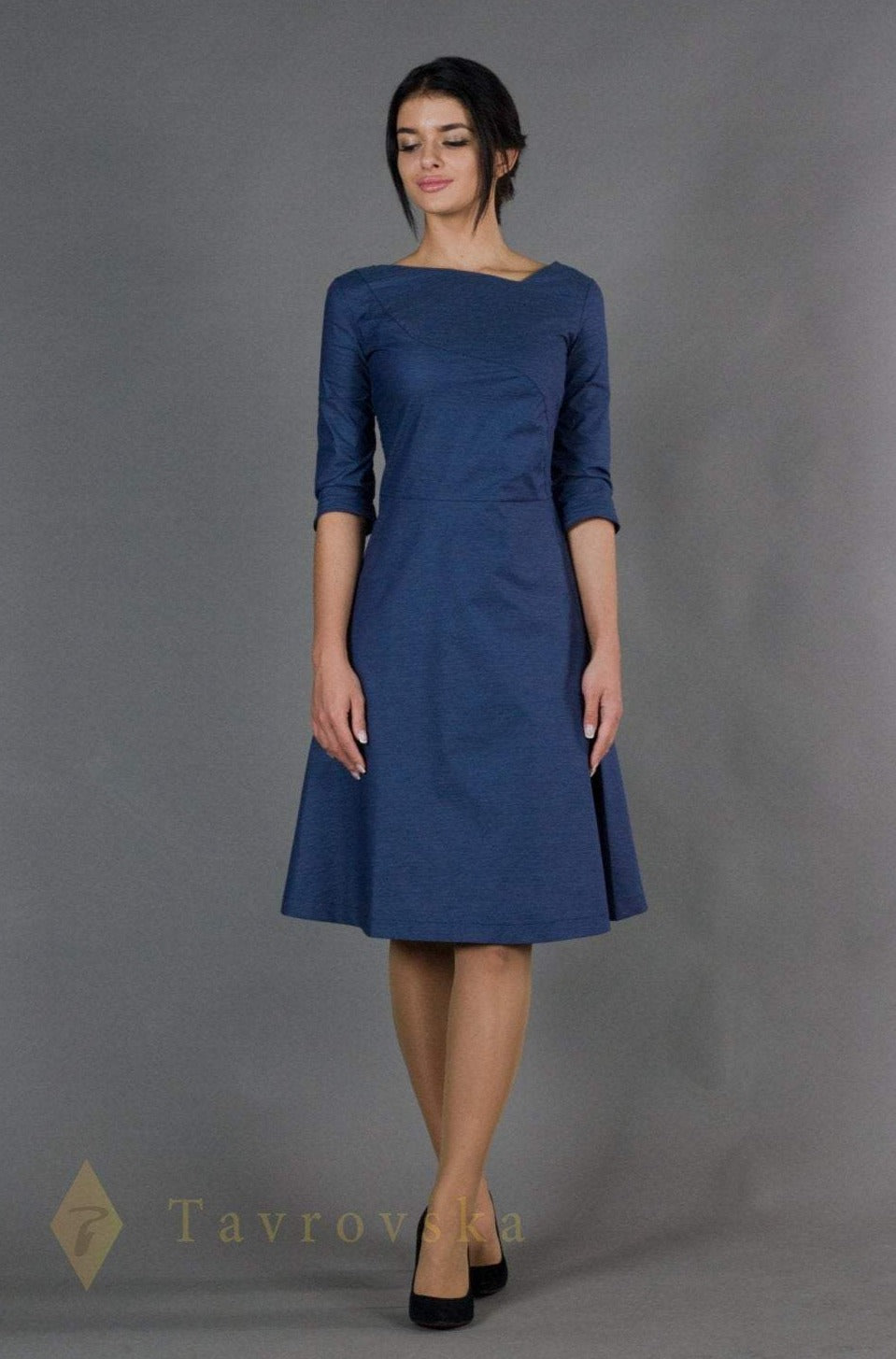 Blue asymmetrical fit and flare dress