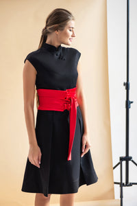 High neck a-line Chinese dress with belt