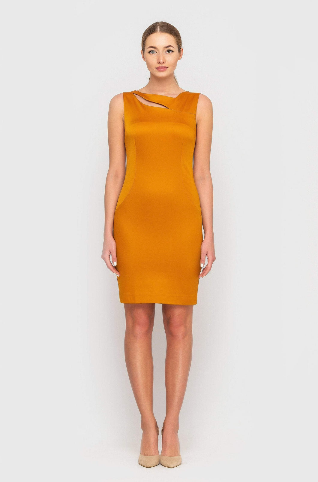 Cutout neckline sheath dress