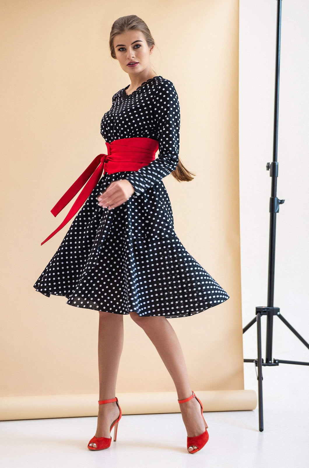 Polka dot long sleeve cotton dress with red belt