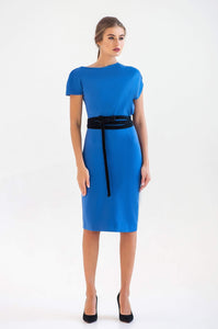 Cobalt blue asymmetrical midi dress with velvet belt
