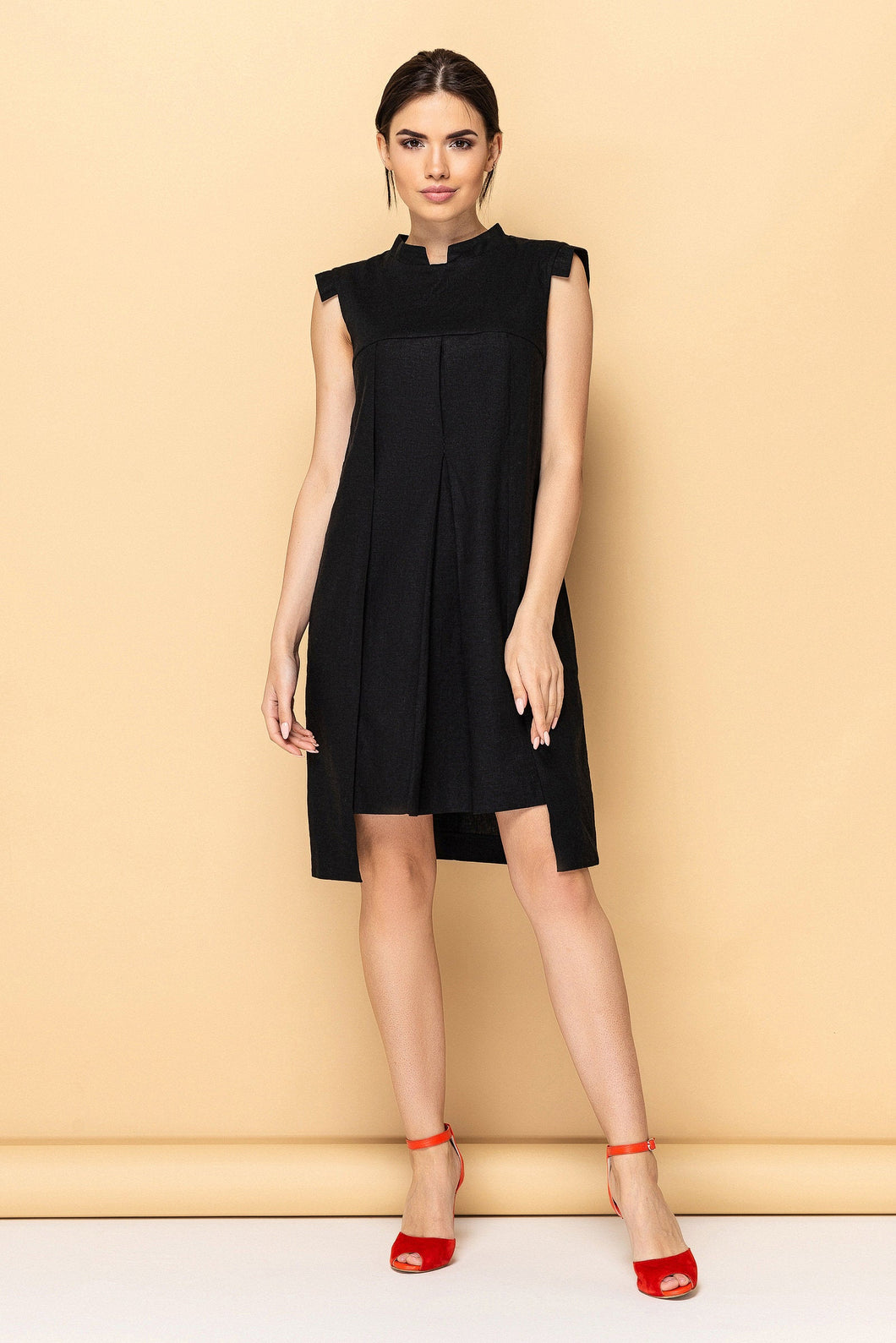 Black high neck linen dress