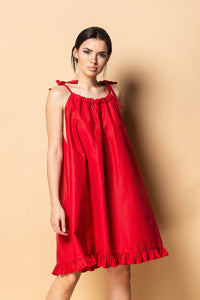 Red cotton shoulder tie sundress women