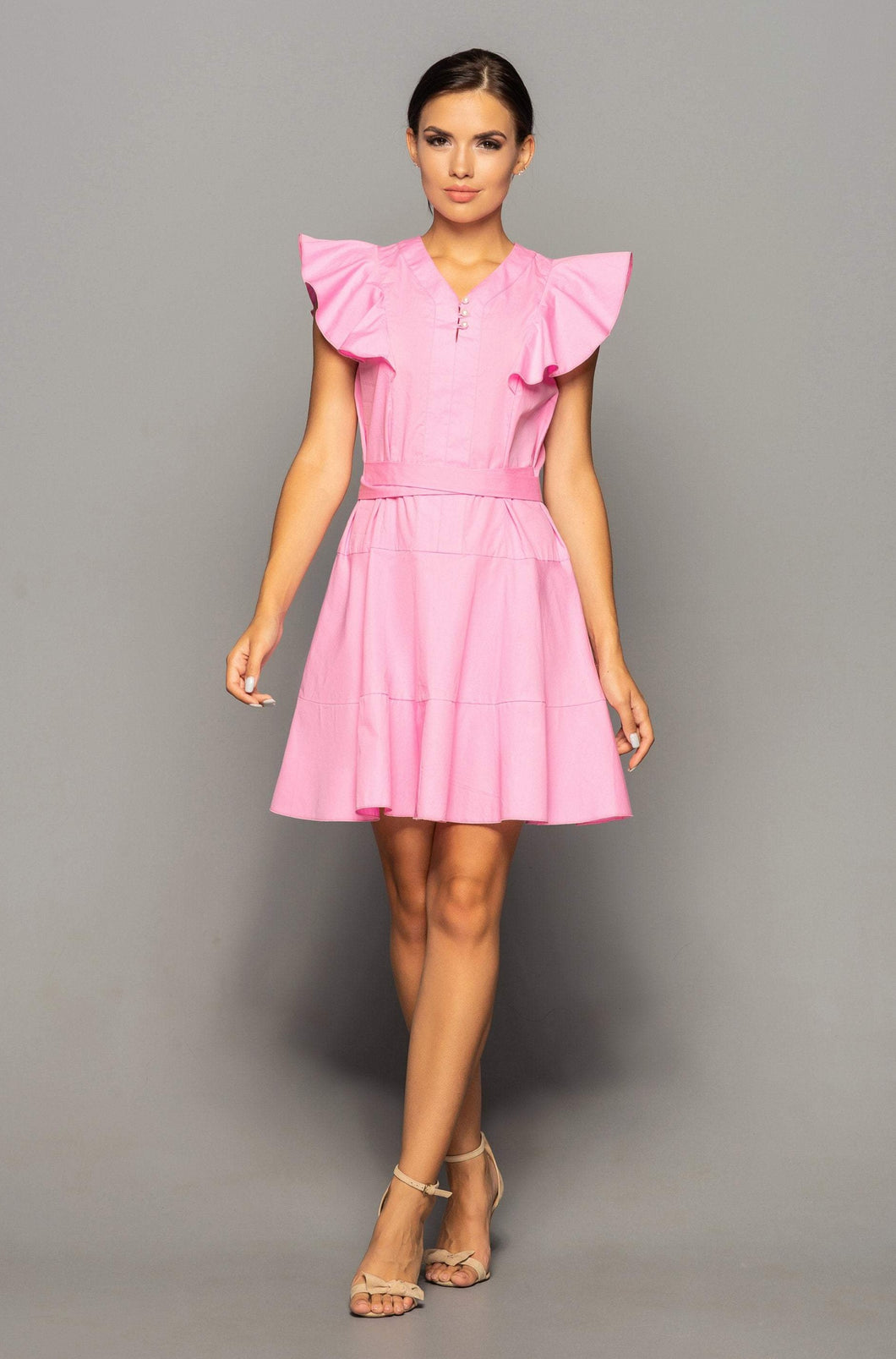 Pink cotton ruffle summer dress