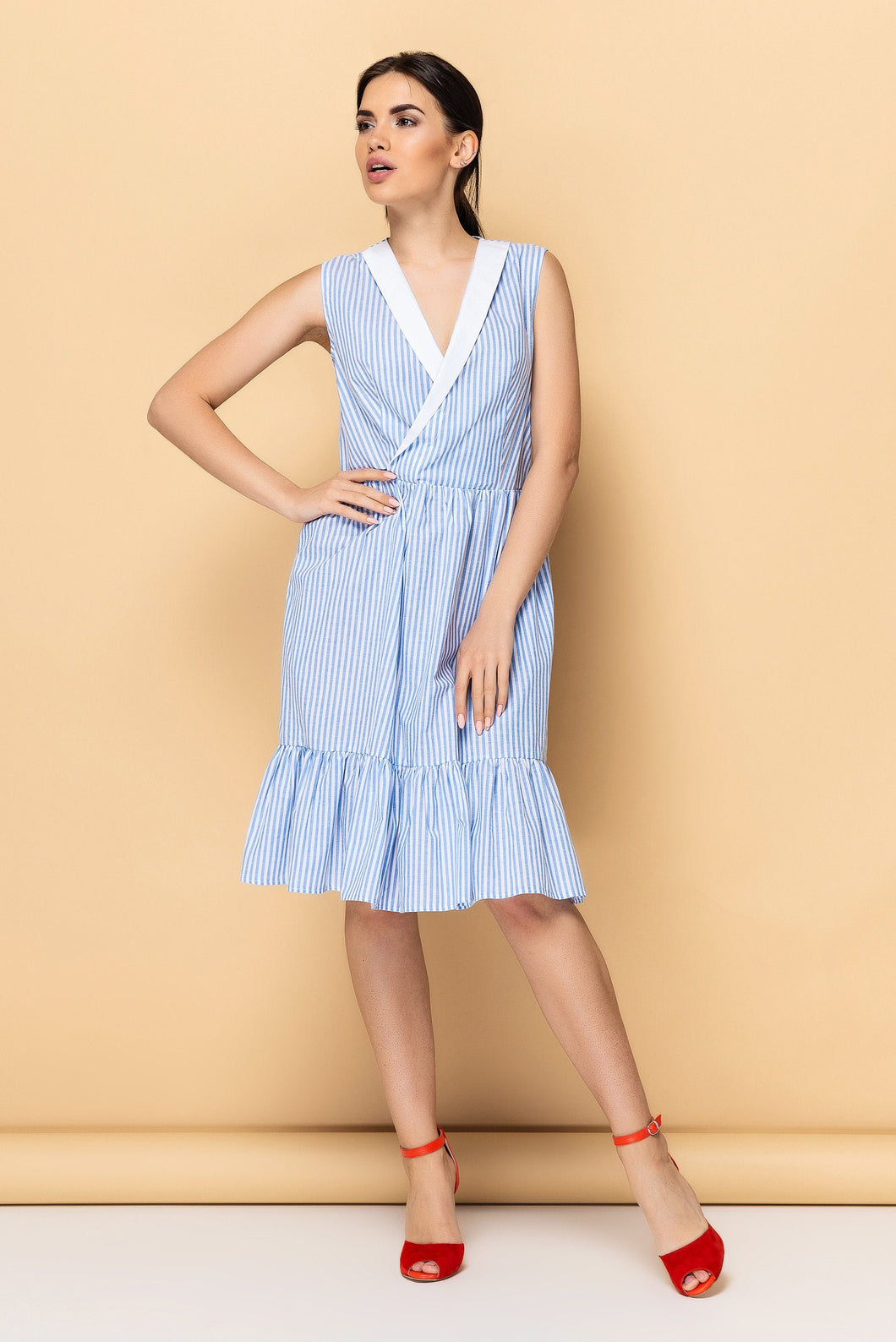 Cotton striped shawl collar dress women