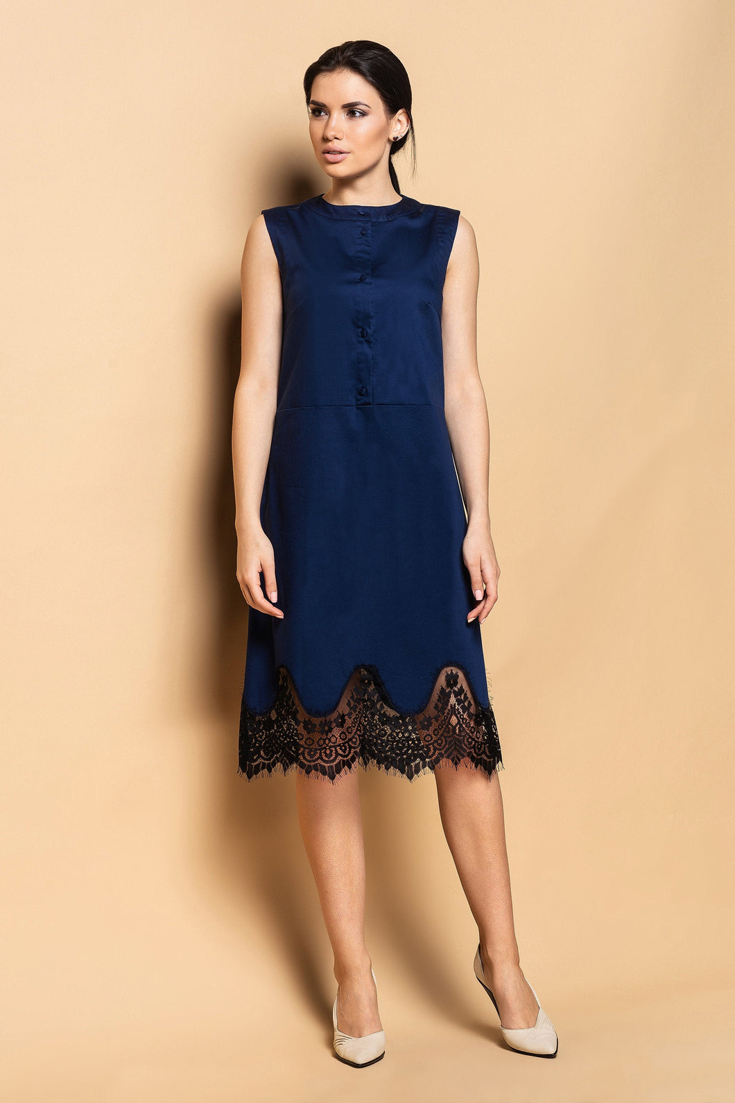 Lace bottom cotton shirt dress