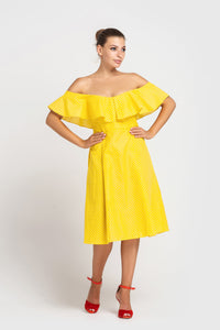 Yellow off the shoulder polka dot summer dress