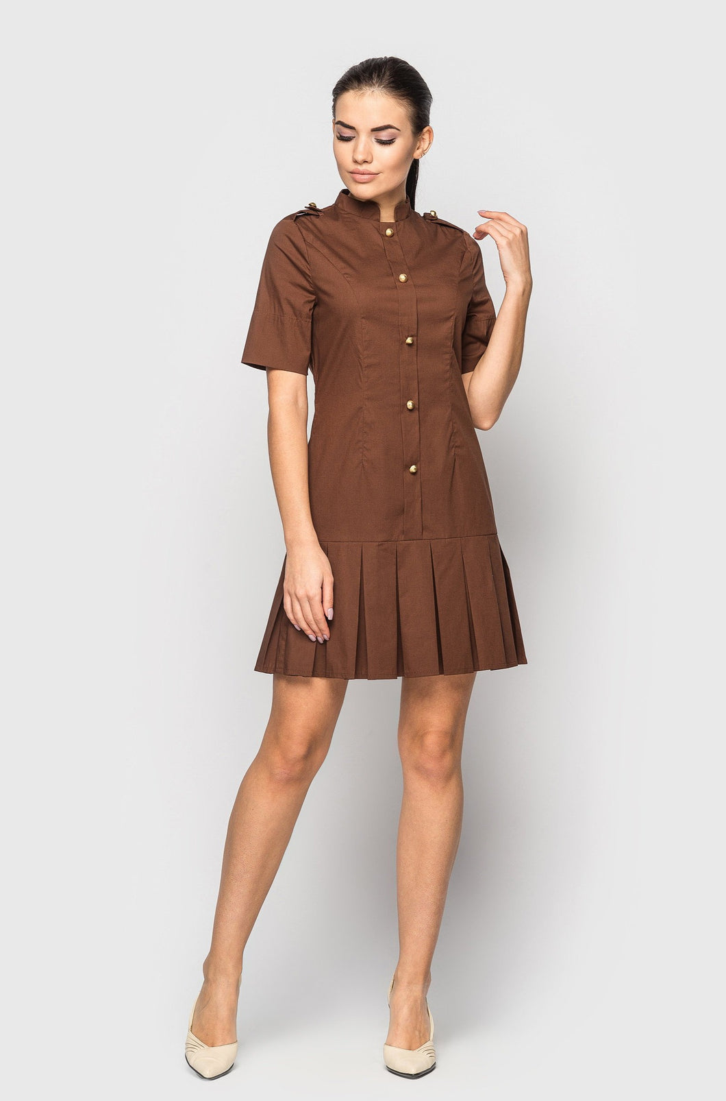 High neck pleated skirt mini dress women
