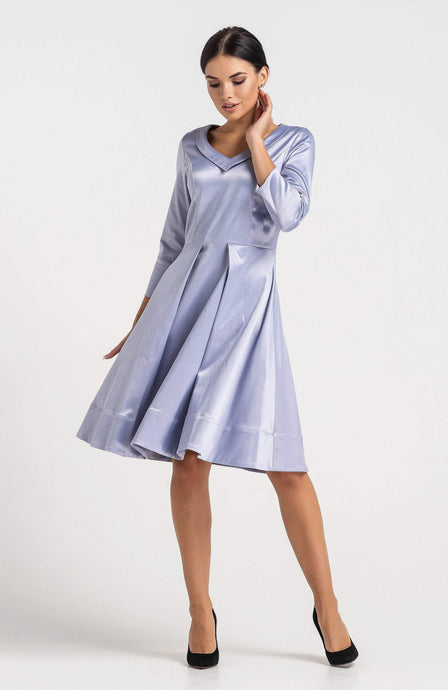 Fit and flare grey cotton dress