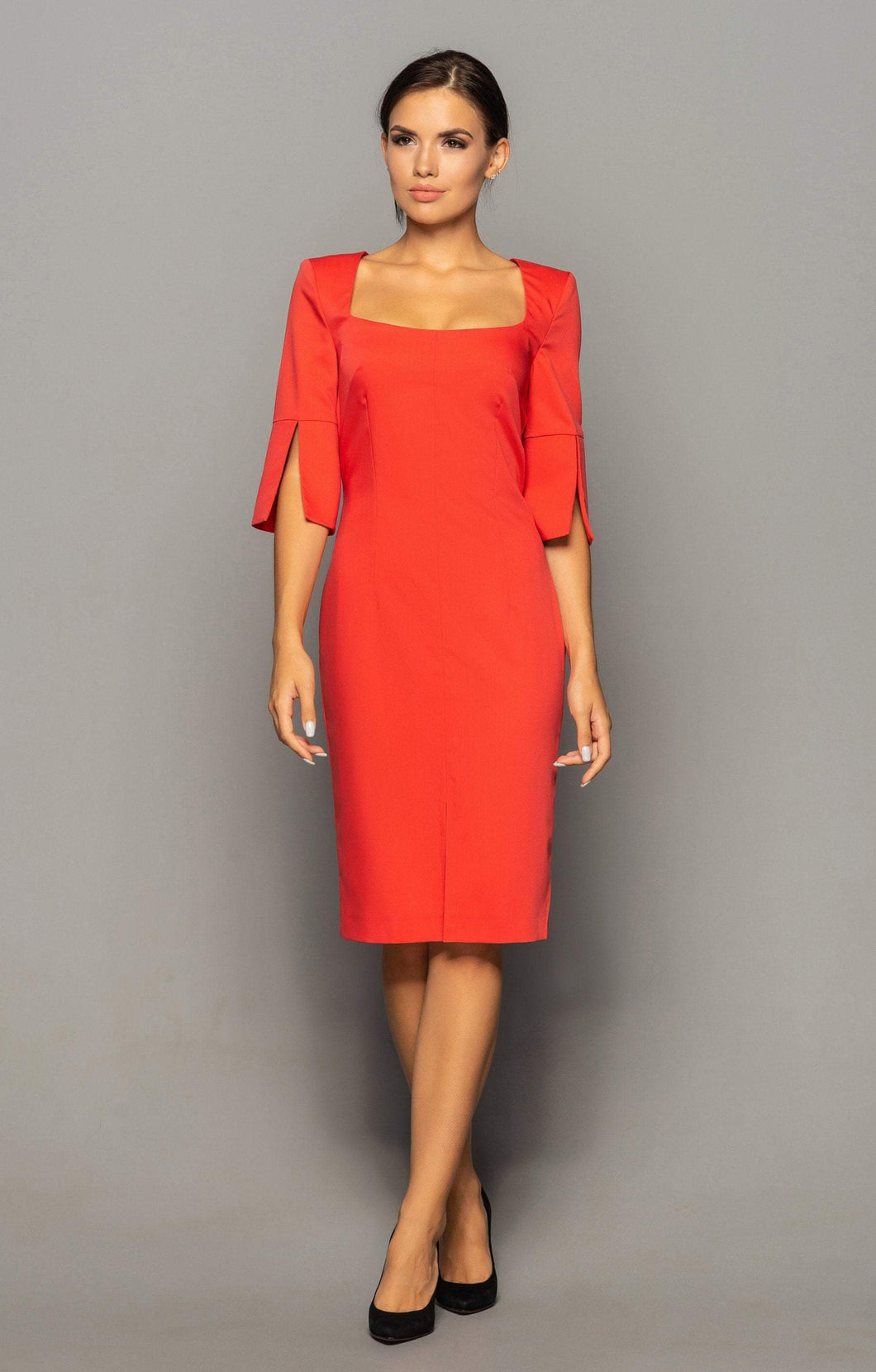 Red square neck sheath dress women