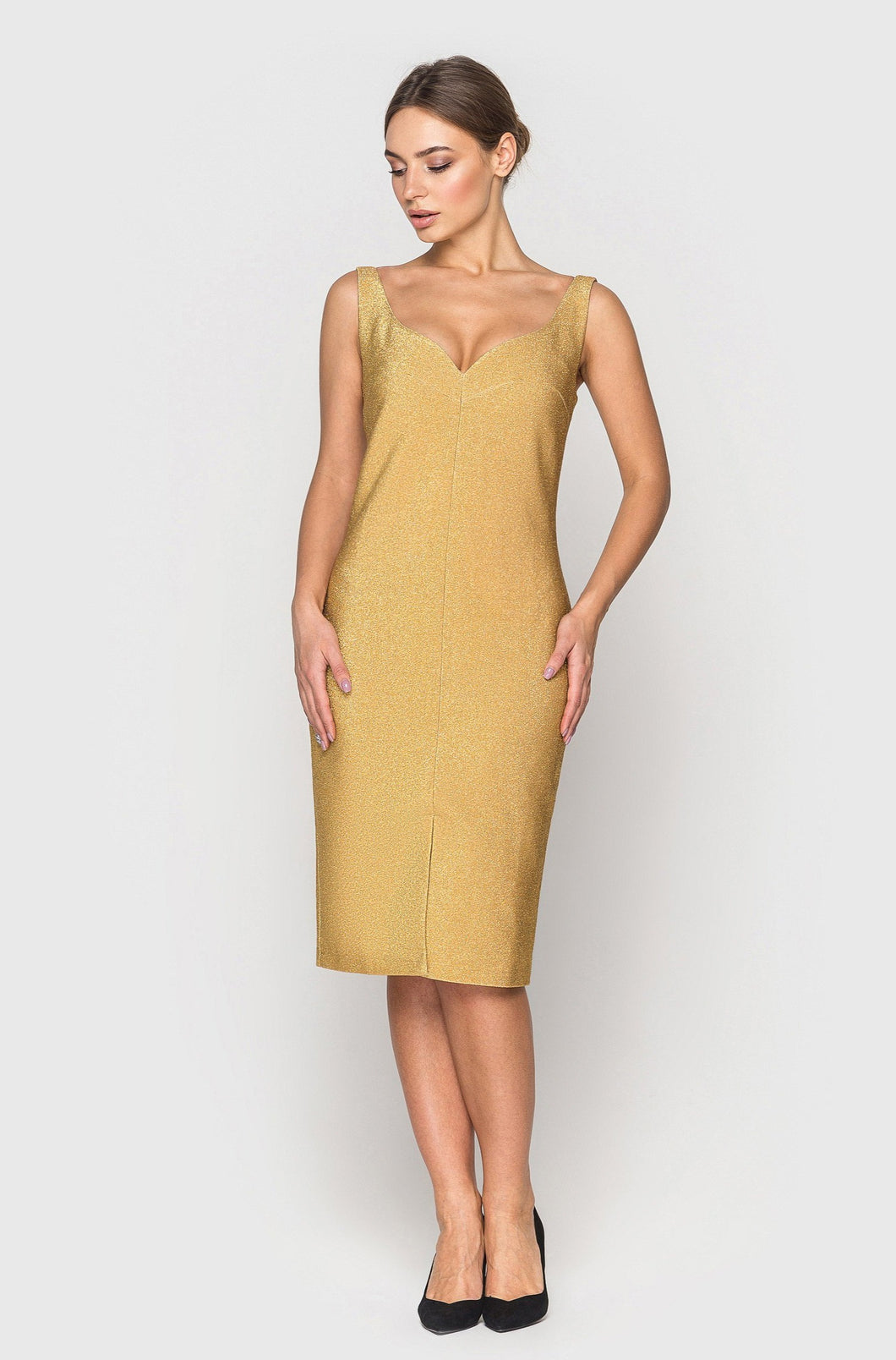 Gold lurex sleeveless pencil dress
