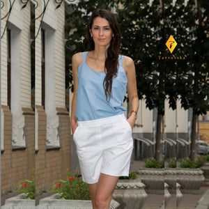 White cotton high waisted shorts for women