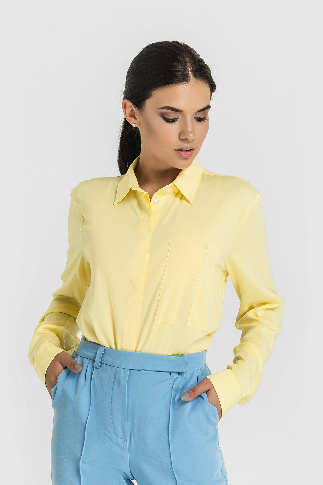 Light yellow button down shirt