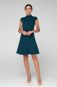 Dark green asymmetrical high neck dress women