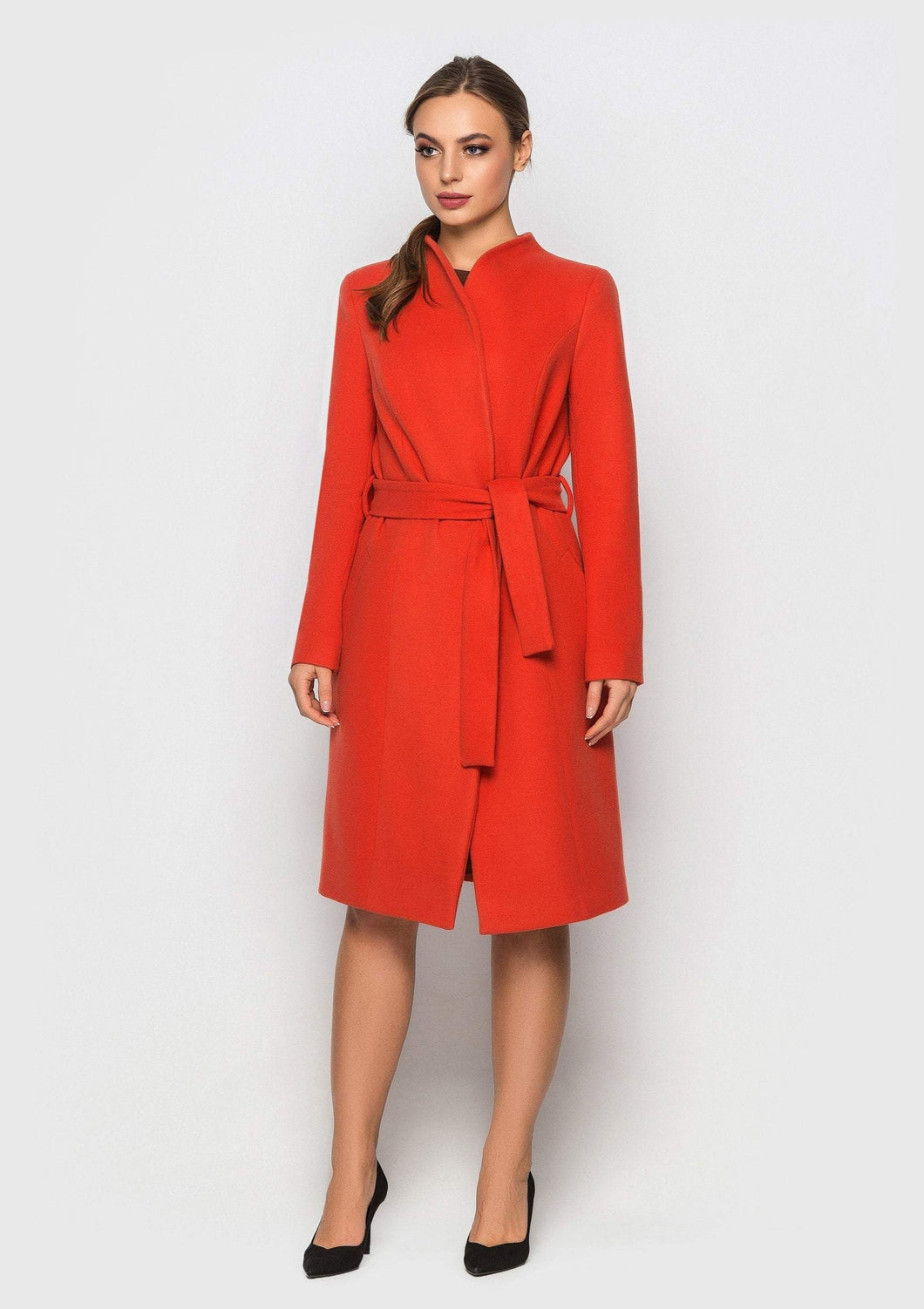 Orange high neck cashmere coat