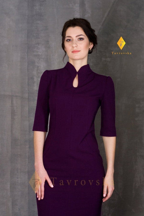 Purple high neck modern cheongsam dress