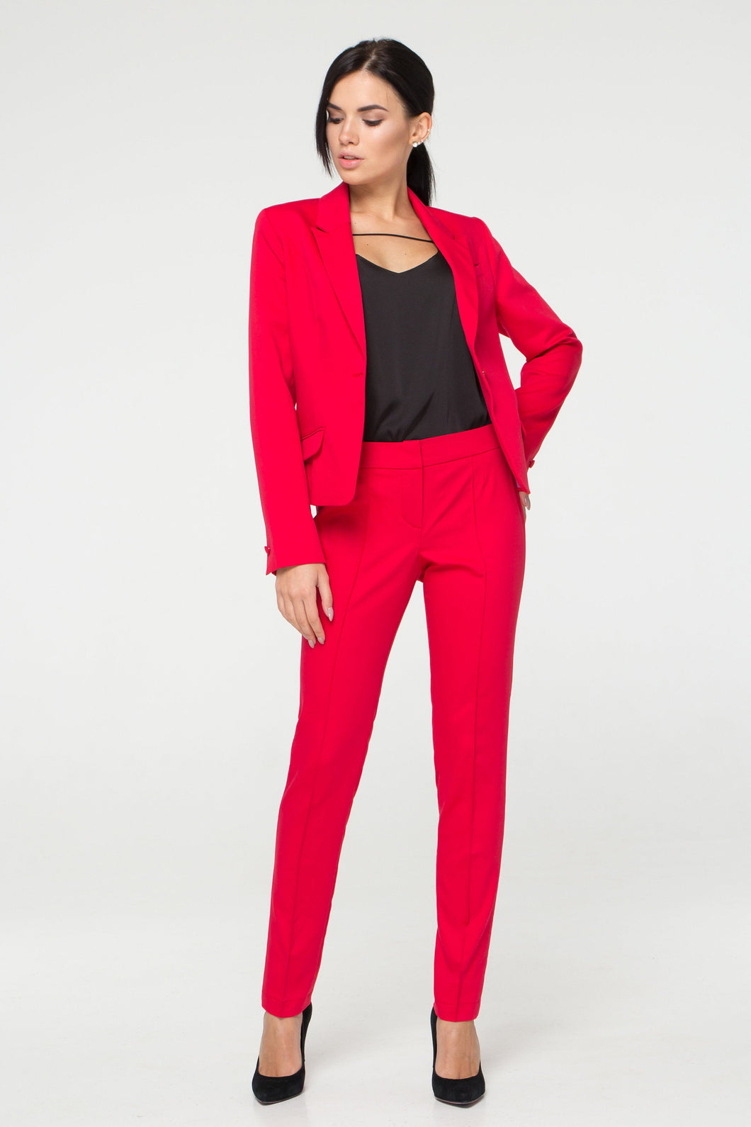 Red pant suit women