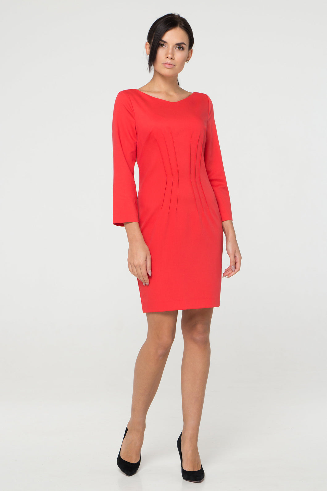 Red Inverted Dart Sheath Dress women