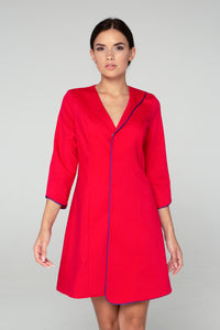 Red a line dress jacket women