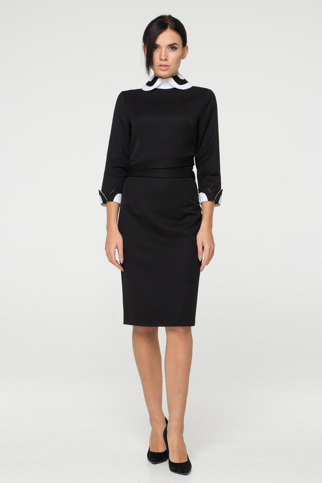 White peter pan collar black pencil dress
