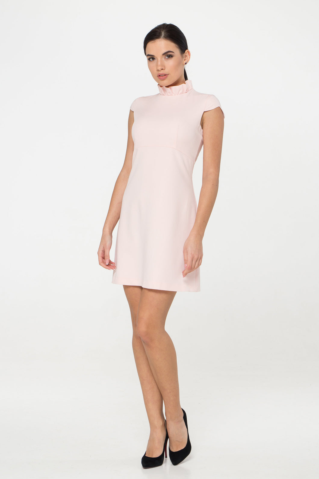 Pink frill collar mock neck mini dress