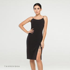 Black camisole dress with high front slit and leg bracelet