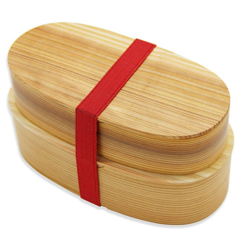 Oval Bilateral wooden lunch box Large capacity