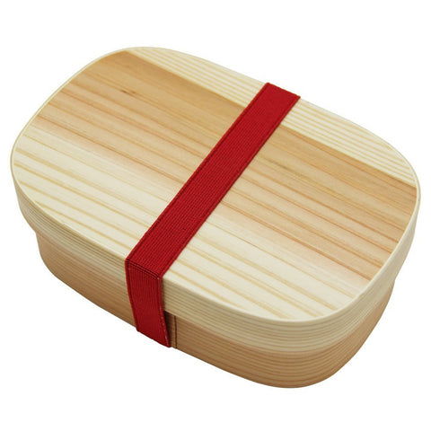 Square rounded wooden Bento box(white)